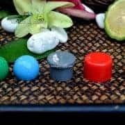pdp068-ฝาเห็ดสีเทา,และฝาทรงกระบอกสีแดงและฝาบอลกลมสีเขียว,ฝาบอลกลมสีฟ้า